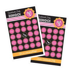 Bachelorette Party Bingo (set of 16). Who doesn't love a game of BINGO? Guests will enjoy playing this fun interactive bachelorette party game. These Bachelorette Party Bingo Cards are pre-printed with numbers, each card is unique - no 2 are alike! A word list is also provided, just tear out the cards, drop them in a bowl and draw at random. First person to get 5 in a row yells BINGO! Middle square is a free space on all cards. Guests can use a pen to cross off called bingo numbers...
