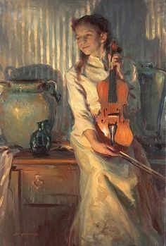 On the wall: IMAGINA Y CREA: The Music Lesson, paintings - This one by Daniel F. Gerhartz