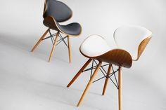 Krzesło Ample białe skórzane drewniane krzesła designerskie