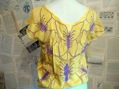 Marigold Cut Out Lace Butterfly NOS Bali Top by thedepo on Etsy,