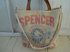 RePurposed Canvas Bag/Tote with Leather Handles by SewTrendy, $95.00