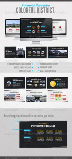 Coloful District  #GraphicRiver         Easily editable and easy to use, this powerpoint is suitable for any type of business. It has 24 Unique slides in 2 background options (light and dark).    Check Out The Demo       Features:   2 Background Options: Light and Dark   3 Color Options per background  There are 2 files: With and without animation based on your need  24 Unique Slides  Easily Editable Slides  Image Placeholder Ready     Whats in the package?    6 PPTX Files in 16:9 aspect…