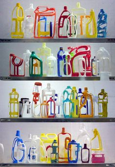 Artwork by French artist and designer, Régis Mayot. Some of his cut-away plastic bottles were featured in the Manuf®actured show at the Muse. Art Assignments, Recycled Art, Repurposed, Plastic Bottles, Plastic Containers, French Artists, Sustainable Design, Teaching Art, Artist At Work