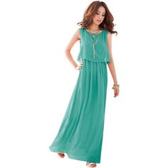 Ladies Bohenmia Pleated Wave Strap Princess Chiffon Maxi long dress Four Colors_Green_M Keral, http://amzn.to/1gDTIAA