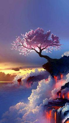 New fantasy landscape art nature scenery Ideas Scenery Wallpaper, Landscape Wallpaper, Cute Wallpaper Backgrounds, Pretty Wallpapers, Landscape Art, Wallpaper Samsung, Mobile Wallpaper, Colorful Wallpaper, Animal Wallpaper