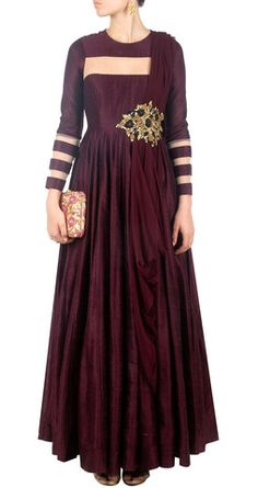 Maroon color long anarkali – Panache Haute Couture http://panachehautecouture.co.in/collections/suits/products/maroon-color-long-anarkali