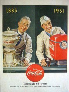 1951 DRINK COCA-COLA - THROUGH 65 YEARS 1886-1951 COKE DISPENSERS- PRINT AD!