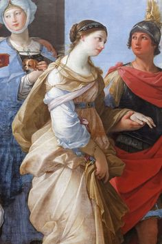 In Guido Reni's painting Louvre, Paris), however, Paris holds Helen by her wrist, and leave together for Troia. Helen Of Troy, Baroque Painting, Baroque Art, Italian Baroque, Ancient Troy, Daughter Of Zeus, Medieval Paintings, Trojan War, Greek Art