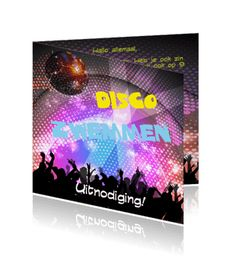 Een uitnodiging online maken voor een  kinderfeestje met disco zwemmen.