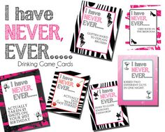 Drinking Game I have never ever themed cards by NspireDesign, $5.00