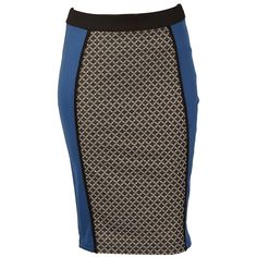 Women | Blue Womens Tile Print Jacquard Pencil Skirt | Get The label