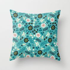 Fresh Blossoms (Greens) Throw Pillow