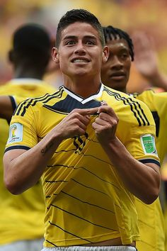 Colombia's midfielder James Rodriguez celebrates after winning the. James Rodriguez Colombia, World Cup 2014, Fifa World Cup, James Rodrigues, Ap Spanish, National Stadium, Football Match, Photo Credit, June 19