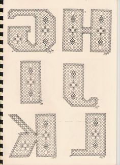 Alphabet G à L Torchon Bobbin Lace Patterns, Lacemaking, Lace Heart, Lace Jewelry, Lace Flowers, Lace Detail, Tatting, Crochet, Letters