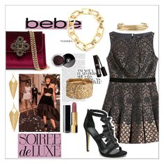 """""""Soirée de Luxe with bebe Holiday: Contest Entry"""" by fashiontake-out ❤ liked on Polyvore featuring Bebe, Chanel, Jennifer Fisher, H&M, Panacea and Michael Kors"""