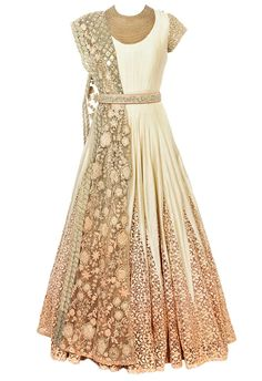 Off white & peach ombre embroidered anarkali set by Ridhima Bhasin - Shop at Aza #ad