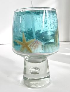 White Tea and Ginger Scented High Density Seascape Gel Candle in Unique Glass Pedestal Cup Gel Candles, Pedestal, Sea Shells, Snow Globes, Wax, Glass, Unique, Home Decor, Decoration Home