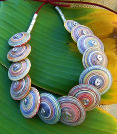 Coiled Paper Button Necklace