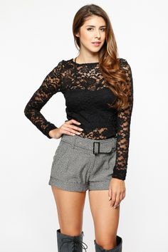 Sheer Floral Lace Long Sleeve Top - I am loving the shorts! LOVE