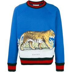 - Gucci Hoodie - Ideas of Gucci Hoodie - Shop Gucci Tiger print sweater. Mens Designer Sweatshirts, Mens Sweatshirts, Sweater Outfits, Men Sweater, Ribbed Sweater, Gucci Fashion, Mens Fashion, Gucci Gang, Gucci Shirts