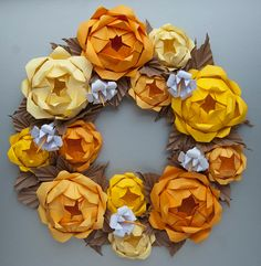 Yellow Rose Origami Paper Wreath by Lusine on Etsy, $60.00