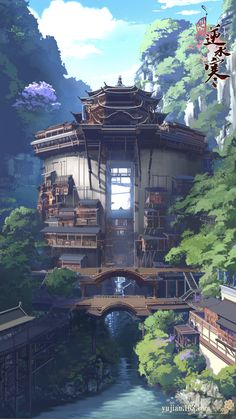 Fantasy City, Fantasy Places, Fantasy World, Anime Fantasy, Fantasy Art Landscapes, Landscape Artwork, Fantasy Landscape, Japanese Buildings, Japanese Architecture