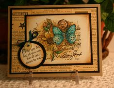 handmade greeting card ... Butterfly Collage by CathyRose ... Vintage  look ... rusty brown Distress inking ... newspaper print background layer ... darkened edges with sponged on color ... luv the look of teal to the butterfly ... stands out from everything else ... beautiful card! ...  Stampin' Up!