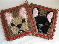cafe pot holder to crochet | Reserved Listing. French Bulldog Pot Holder Set. by hooknsaw