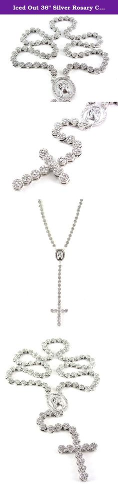 """Iced Out 36"""" Silver Rosary Cluster Simulated Diamond Chain Necklace Cross 14K Finish. This is a great piece to add to any jewelry collection. Each Cz stone is beautifully shiny and carefully put into solid metal construction. Definitely made to last!."""