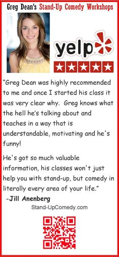Greg Dean's Stand Up Comedy Classes Yelp Review Jill Anenberg