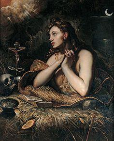 Domenico Tintoretton Magdalan Mariaa esittävä maalaus (noin 1598-1602). Toiselta nimeltään Maria Magdalena. Kiharretut hiukset meinaavat avionrikkojaa...anto tietty Jeesuksellekkin.