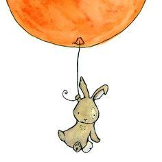 Nursery Art -- Bunny Balloon in Orange Creamsicle 8X10 -- Art Print. $10.00, via Etsy.