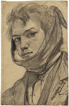 C.F. ALLERS self portrait with a toothache 1880, pencil drawing
