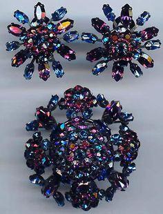 Schreiner Vintage Sapphire Blue Purple Rhinestone Pin and Earrings Set | eBay