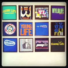 Young Life t-shirts in frames - if I lived in a college apartment I would totally do this! @Chelsea Marie @Bonnie Lewis @Elizabeth Cox @Sarah Lamothe