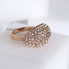 $12.50 - Rose Gold Crystal Ring, Cocktail Ring, Gala Jewelry, Glamorous