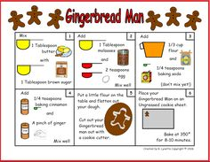 Here is a great project to do with little kids this holiday season. Each recipe makes a single ginger bread man, so this is great if you don't want to make a bunch. The steps are easy to follow for little people with some adult assistance. If you do this with a group, give the kids margerine tubs or cereal bowls to mix in and