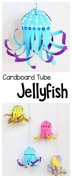 Cardboard Tube Jellyfish Craft for Kids: Use an empty paper towel roll to make these unique and colorful jellyfish! Fun ocean art project to go with your unit on sea life. Provides fine motor practice (Diy Projects To Sell) Crafts To Do, Easy Crafts, Crafts For Kids, Arts And Crafts, Projects For Kids, Diy For Kids, Art Projects, Kids Fun, Colorful Jellyfish
