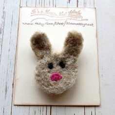 Needle felted brooch  rabbit felted brooch  bunny by itsaMessyNest