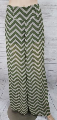 12adb3f0cf4 Wide leg green gray chevron sheer chiffon summer beach pants Heart Soul Size  S