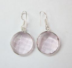 Faceted Rose Quartz Gemstone Fashion Jewelry Sterling Silver Earrings US - 1606 #SilvestoIndia #DropDangle