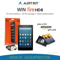 I entered @AlertBot's contest to win a Kindle Fire HD 8 and Amazon Gift Card! You can enter at http://go.alertbot.com #firehd8