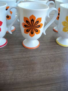 "Vintage Orange, Yellow and Red Wyler ""StarBurst"" Pedestal Cups Orange Mugs, Orange Yellow, Orange Flowers, Fine China, Pedestal, Cups, Stamp, Retro, Tableware"