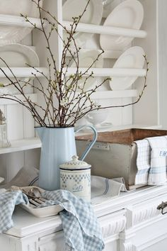 """A touch of """"greenery"""" and pale pastels make a gorgeous Spring decor palette."""