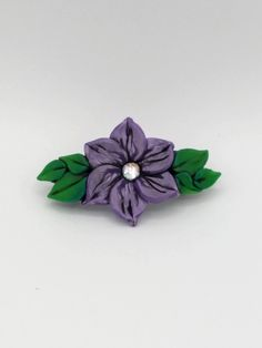 Violet Flower Barrette 3 Inches; Purple Plumeria; Floral Hair Accessory; Spring Fashion; Style No: VIF02 by EmilyMah on Etsy
