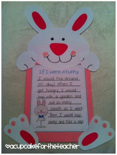 bunny craft for spring and/or Easter - Just so stinkin' cute! Leave lines open for child to fill out.might cut and leave undone. Easter Activities, Holiday Activities, Holiday Crafts, Holiday Fun, Bunny Crafts, Easter Crafts, Crafts For Kids, Classroom Crafts, Classroom Fun