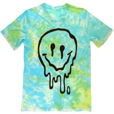 Sick Melted sMiLeY fAcE Tie Dye T-Shirt UNISEX sizes S, M, L, XL ($26) ❤ liked on Polyvore featuring tops, t-shirts, shirts, tees, tie dye t shirts, tye die t shirts, tie dyed t shirts, blue t shirt and tye dye shirts
