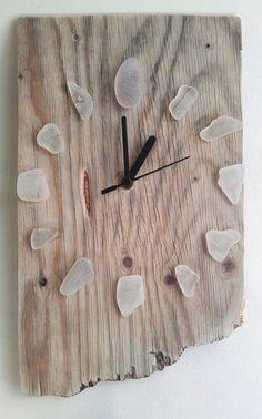 Driftwood Clock w/ White Sea Glass Recycled Hands by JayBird Art
