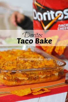 Taco Bake is a an easy casserole recipe the whole family will love! Made with Doritos, crescent rolls, ground beef, cheese and more! Recipes casserole Taco Bake With Crescent Rolls and Doritos - The Farmwife Cooks Doritos Recipes, Crockpot Recipes, Taco Bake Recipes, Croissant, Ground Beef Recipes For Dinner, Dinner Recipes, Casseroles With Ground Beef, Dinner Ideas, Dinner With Ground Beef