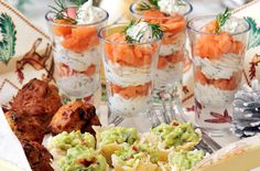 Easy party canapes - Chicken Tikka Bites, Smoked Salmon w/ Lemon and Dill Layer, Avocado Tartlets